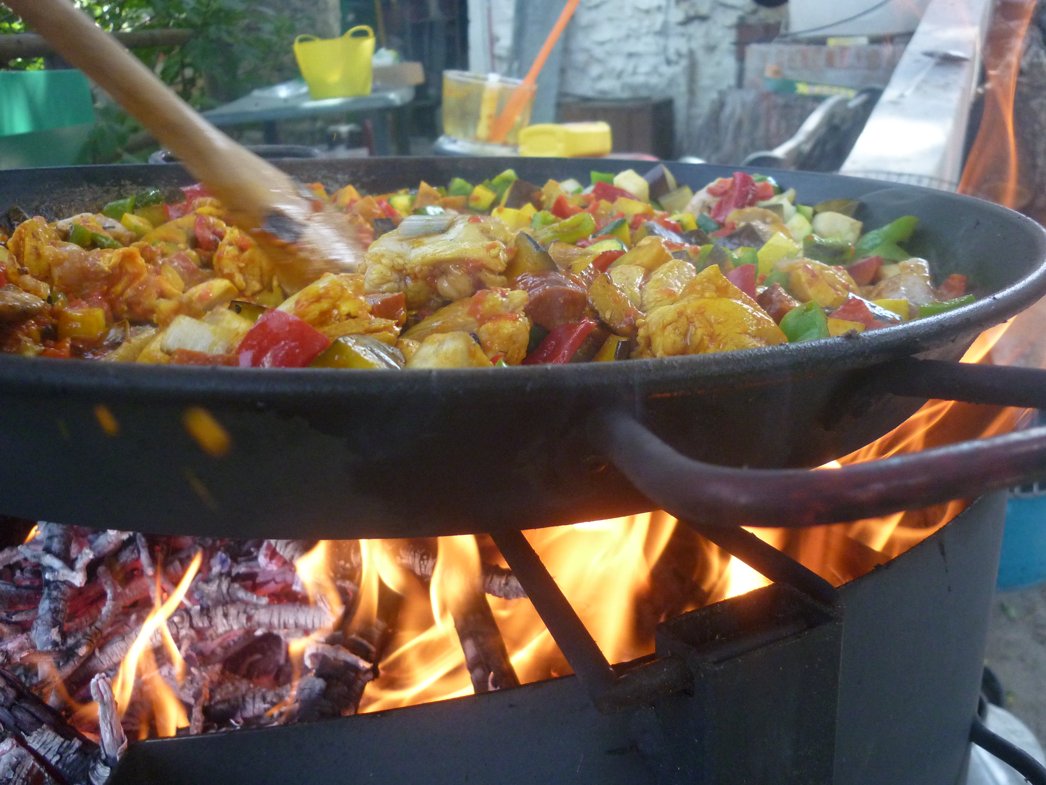 Paella Cooking On a Fire