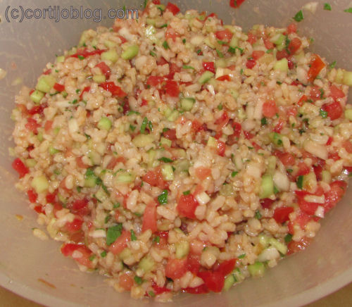 cucumber tomato rice salad