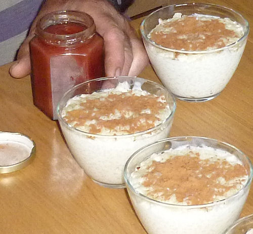 Rice pudding with goats' milk